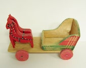 FOLK ART TOY - Hand Painted Wooden Cart & Horses - Christmas Decor
