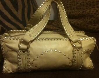 CACHE LEATHER HANDBAG Whip Stitched Bag Vintage Cylinder Barrel Satchel Bag