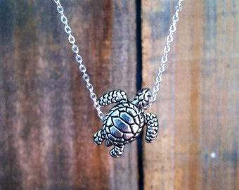 Sea Turtle Necklace, Swimming Turtle Pendant, Silver Plated Turtle Charm Necklace, Turtle Jewelry