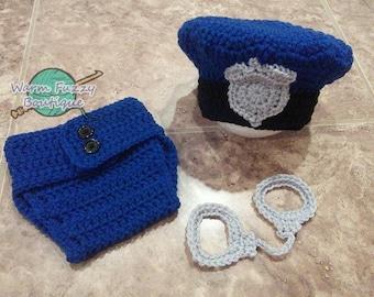Blue Police Officer Hat & Diaper Cover w/ Handcuffs Set - Crochet Baby Boy Newborn NB Beanie Cap Thanksgiving Costume Halloween Christmas