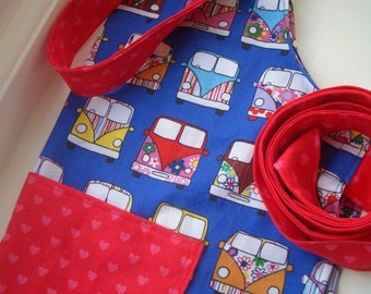 Childrens Aprons in Fabulous, Fun camper van bright fabrics for cooking, painting and messy play.