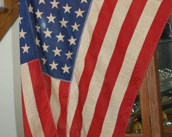 SUMMER SALE - 48 Star Flag w/ Pole, Vintage American Flag, Old Flag, Old Glory, Fourth of July, Pledge of Allegiance
