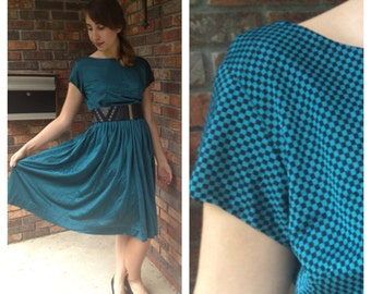 Teal and Black Checkers Dress 1950s M/L/XL