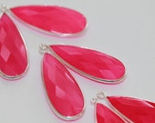 Hot Pink Chalcedony Faceted Pear Bezel Gemstone Sterling Silver Pendant, 34 x 13 mm GM0710FLP/34/SP