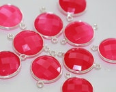 Hot Pink Chalcedony Faceted Coin Bezel Gemstone Sterling Silver Connector, 22 x 15 mm GM0710FC/22/SC