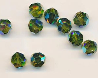 Twelve Swarovski crystals - Art. 5000 - 10 mm - olivine AB 2X