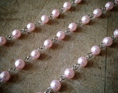 100cm Round Pearl Rose Pink Bead Necklace Chain 5mm Bead Silver Chain Jewelry Making Supplies (EC070)