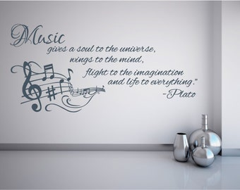 Xl Music gives soul to the universe wall decal,  sticker tansfer mural musical lovers quote