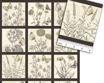 Benartex Fabric - Savannah - Floral Meadow - Panel - Antique/Black - Dover Hill - Panel Fabric