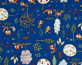 Dena Designs - Free Spirit Fabric - Fox Playground - Playground - Navy - Choose Your Cut-1/2 or Full Yard