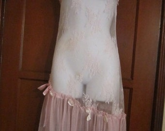 Lacy Pink Sheer Dress with Pink Roses and Ribbons