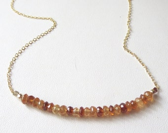 Hessonite Garnet Bar Necklace with 14k Gold Filled Chain