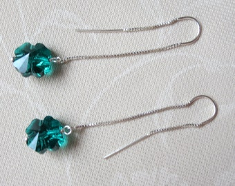 Green Clover Sterling Silver Ear Threads