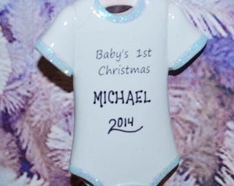 Personalized Baby Boy Onesie First Christmas Onesie Ornament