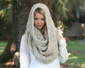 Chunky Large Infinity Scarf Crochet Textured Huge Cowl Scarf THE HIGHLANDER Oatmeal