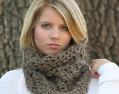 Chunky Cowl Scarf Crochet Neck Warmer Loop Scarf  / THE CAMBRIDGE / Taupe