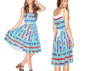 Vintage Cotton ethnic geometric boho gypsy peasant  Multi- Colored Tie Flare Dress
