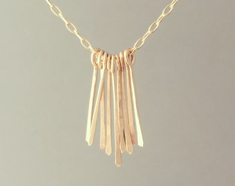 Gold Hammered Fringe Bar Necklace also in Silver and Rose Gold