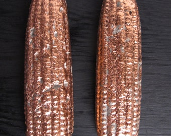 NEW  Larger SUPER Desk Object: Copper  ear of CORN paper weight  Keeps loose papers in place Iowa gift rustic modern