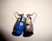 Tardis and 11th Doctor (Doctor Who) Doll Earrings