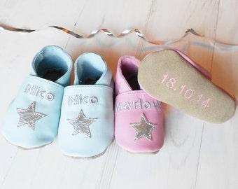 Personalised Keepsake Star Leather Baby Shoes