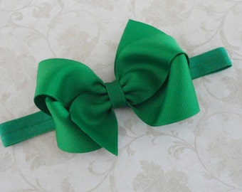 Emerald Green Bow Headband - Baby Headband - Girls 4 inch Emerald Green Grosgrain  Bow Headband