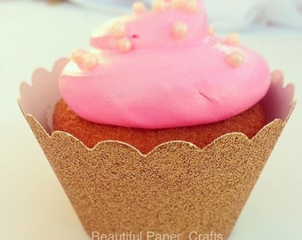 Gold Glitter  Cupcake Wrappers || Gold Baby showers || 1st Birthdays ...set of 12