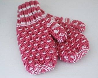 FREE SHIPPING Double Knit Pink Mittens - Warm WInter Christmas Mittens, Pink Knitted Mittens, Stocking Stuffers, Gift For WIFE Daughter