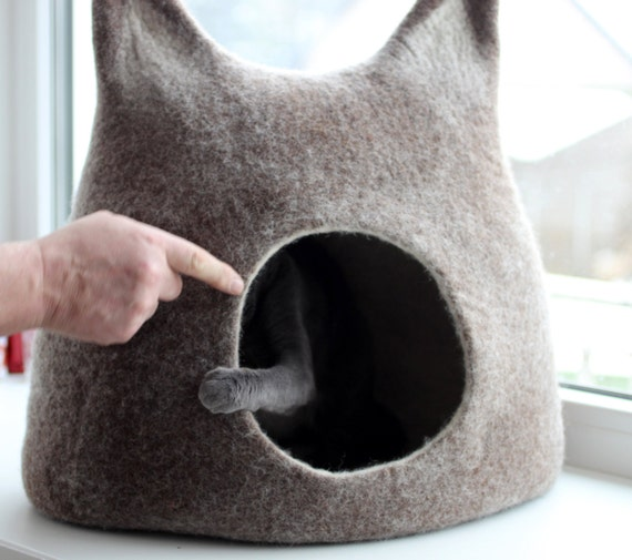 Cat bed - cat cave - cat house - eco-friendly handmade felted wool cat bed - brown with natural white - made to order