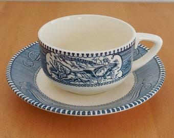 2 Cup Saucer Sets Currier & Ives Blue Varied Scenes Discontinued PLUS 3 Spare Saucers