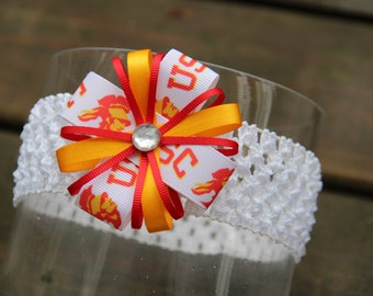 USC Trojans University of Southern California Headband or Hair Bow (baby/child/adult) USC baby gift Trojans Ribbon Bow