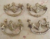 Antique French Bronze Hardware Drawer Pulls, DYI Project, Bureau Makeover,  Circa 1920