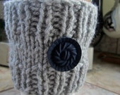 Gray Knitted Coffee Sleeve - Reusable Coffee Cup Sleeve - Coffee Cup Cozy