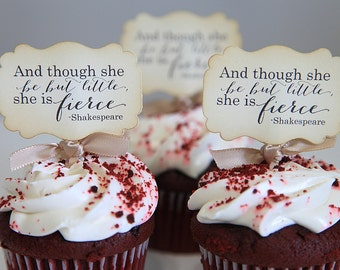 Baby Shower / It's a Girl / Shakespeare / And though she be but little, she is Fierce / Vintage / Shabby Chic / Set
