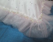 Reserved for Allison Baby Pillow Pink Oganze Enbellished with Ruffles, Pearls and Crystals