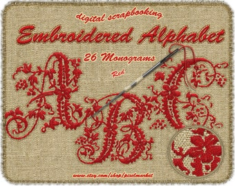 EMBROIDERY FONT Clipart Embroidered MONOGRAM Alphabet Clip art Alphas Digital Scrapbooking Web DieCut Letter Stamp Embroidery Red Abc  a04