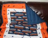 NFL Denver Bronco baby, crib, or lap quilt for you fan.