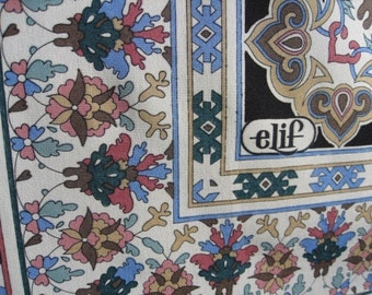 Elif Quality Silk Crepe Vintage Scarf is Very Large and Drapes Nicely Cream Black Pale Accent Floral Symmetrical Ethnic