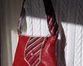 Red Leather Satchel Red Leather Zip Purse Zip Purse with Upcycled Tie Trim Bag Again