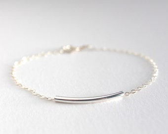 Sterling silver bar bracelet - minimalist delicate chain - curved bar tube bead - modern jewelry by fildee