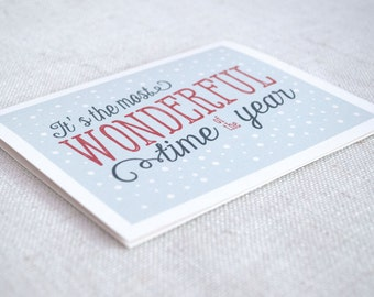 Script Christmas Card - Most Wonderful Time of the Year - Winter Holiday Greeting Card - Hand Lettering Typography // Digital Art Print