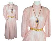 Vintage 70s Sheer Pink Victorian Hippie Boho Grunge Lolita Kawaii Party Dress SZ M