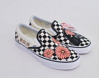 Custom Hand Painted Checkerboard Vans Slip-ons Feature Coral Daisy's with Studio Headphones