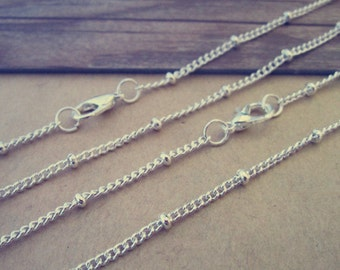 20pcs 27 inche 3mm silver color bead chain with lobster clasp
