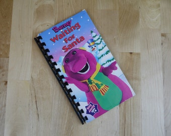 Handmade Barney Waiting For Santa 1992 Christmas Show Re-purposed VHS Cover Notebook Journal