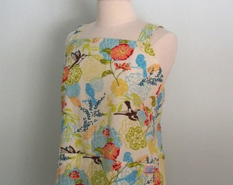 Japanese Apron, Pinafore Apron with Hummingbirds and Flowers in Peach, Blue, Lime, Yellow