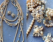 Vintage designer Eugene  long baroque pearl necklace huge clasp signedHear clips Haskell style wired rhinestones