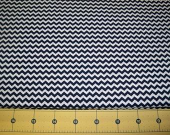Full Yard - Navy Blue Chevron Fabric By The Yard - One Yard Cut Navy Blue 1/8 Inch Chevron Mini Narrow Chevron Cotton Fabric