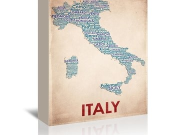 Italy Contemporary Typography Word Map Ready-to-Hang Premium Gallery Wrap Canvas
