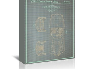 Automobile I Blue Print Art Ready-to-Hang Premium Gallery Wrap Canvas